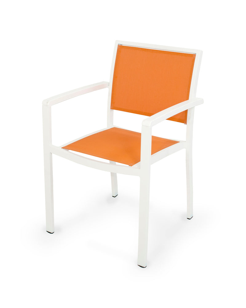 A290-13MWH906 Bayline Dining Arm Chair in Satin White and White with a Citrus Sling