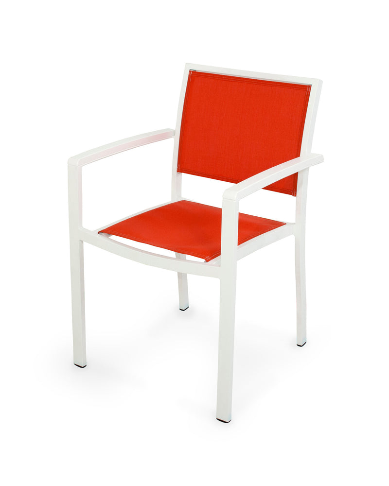 A290-13MWH907 Bayline Dining Arm Chair in Satin White and White with a Salsa Sling