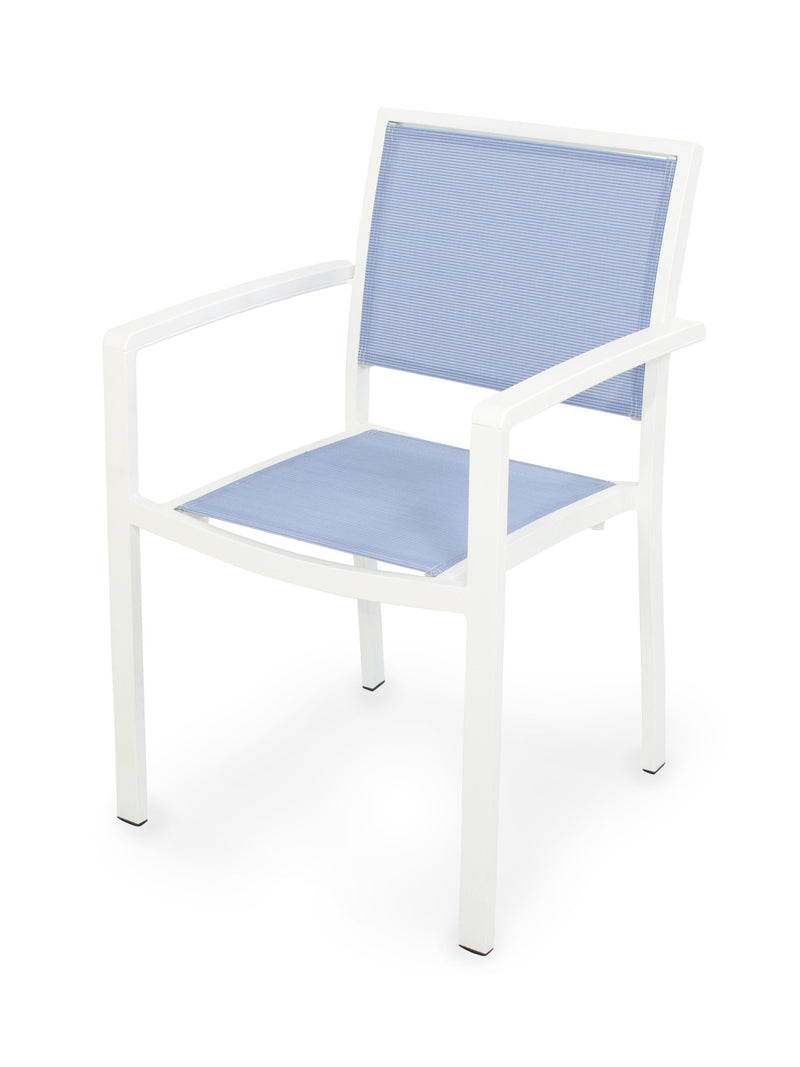 A290-13MWH910 Bayline Dining Arm Chair in Satin White and White with a Poolside Sling