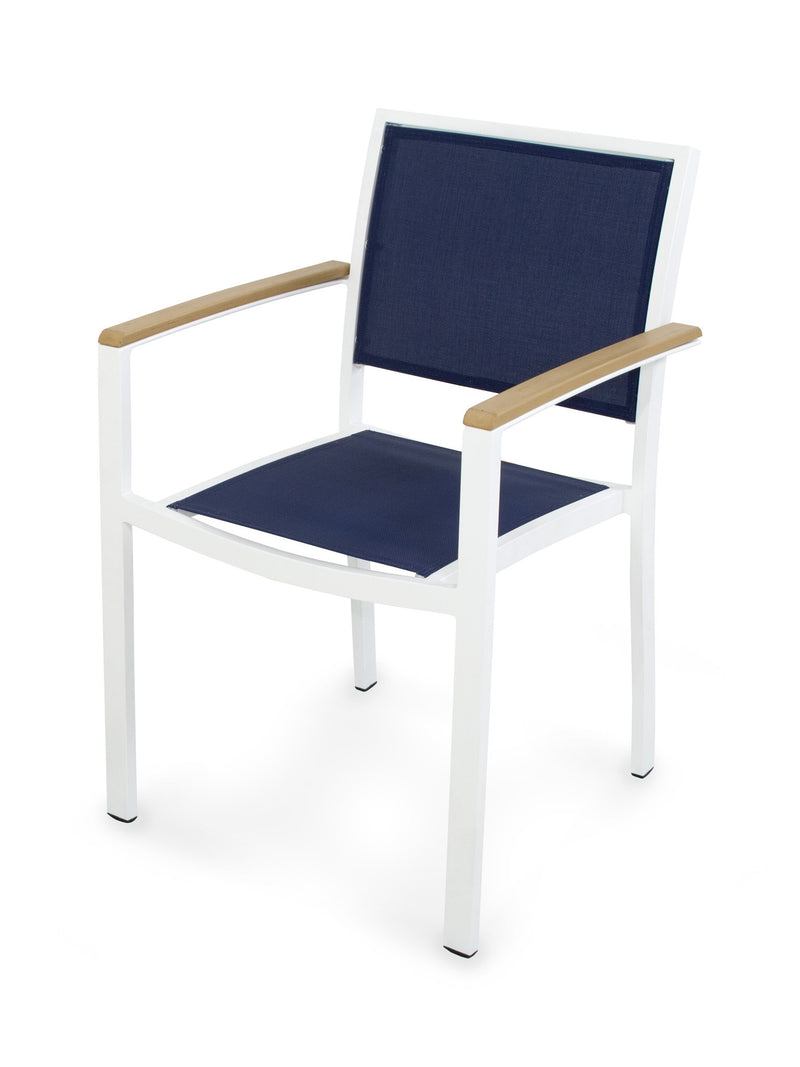 A290-13NT902 Bayline Dining Arm Chair in Satin White and Plastique with a Navy Blue Sling