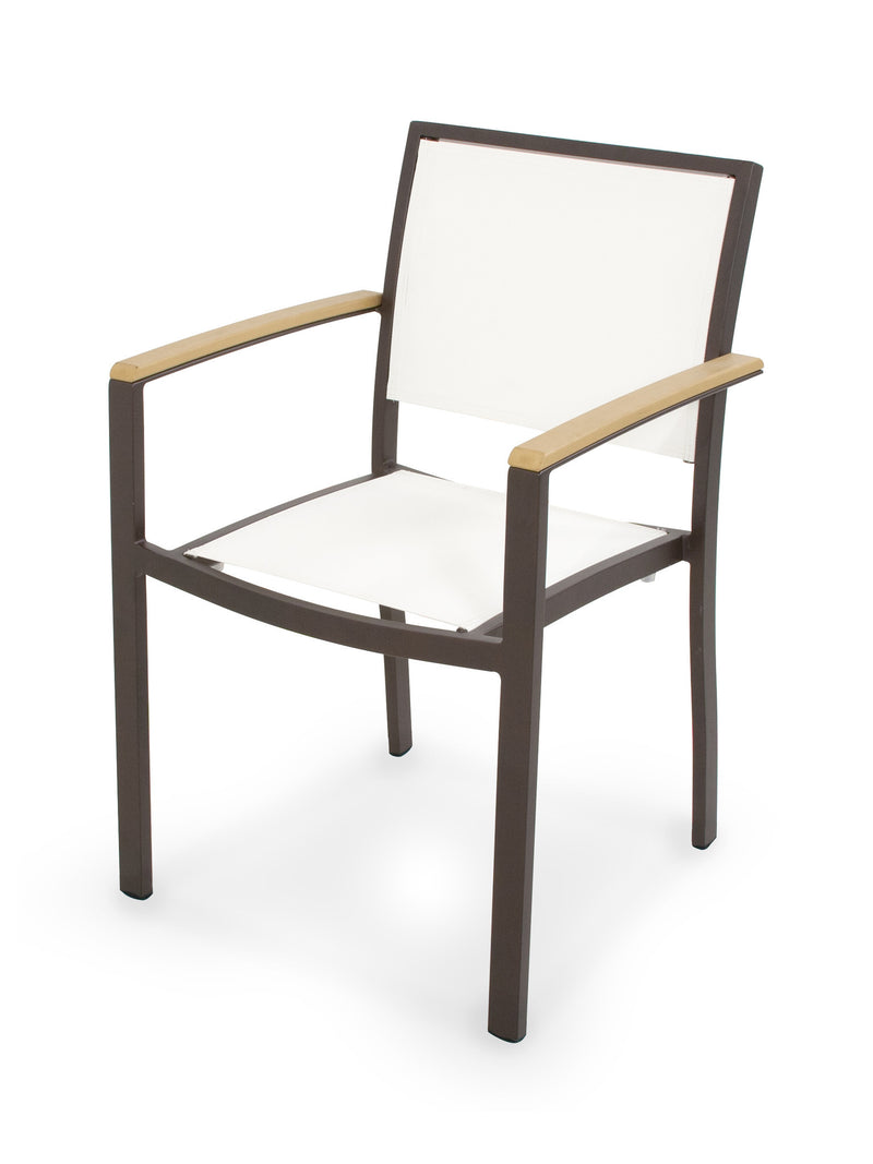 A290-16NT901 Bayline Dining Arm Chair in Textured Bronze and Plastique with a White Sling