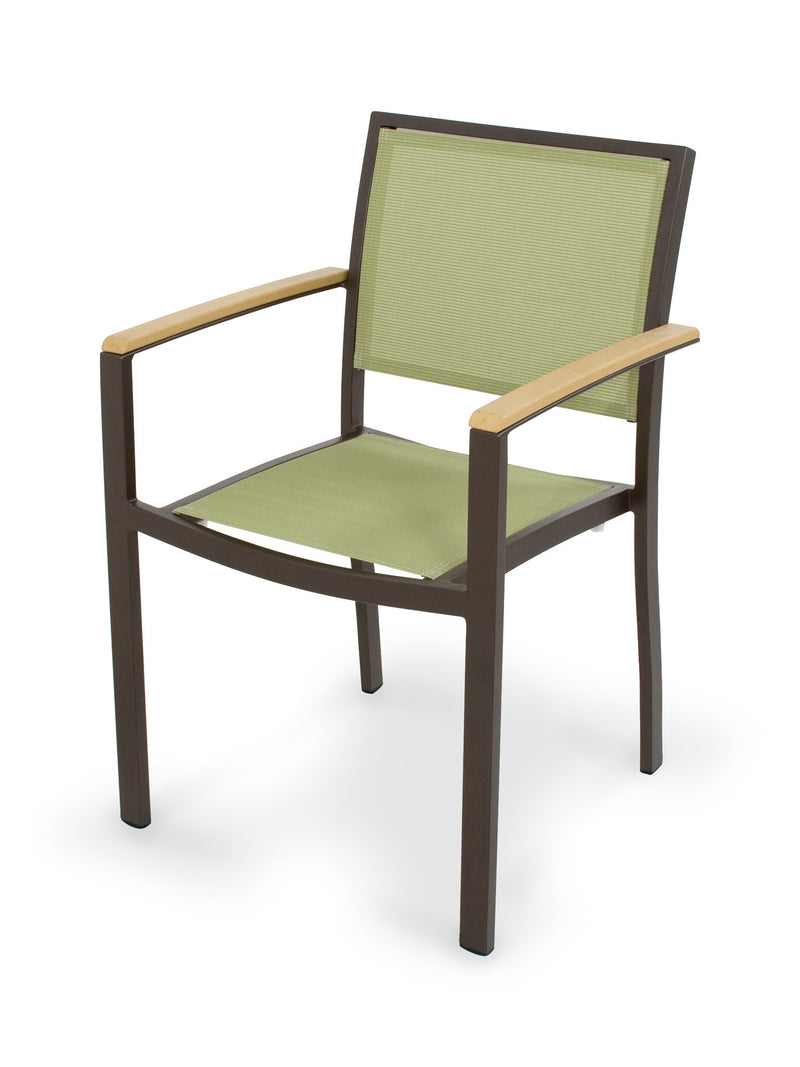 A290-16NT911 Bayline Dining Arm Chair in Textured Bronze and Plastique with a Kiwi Sling