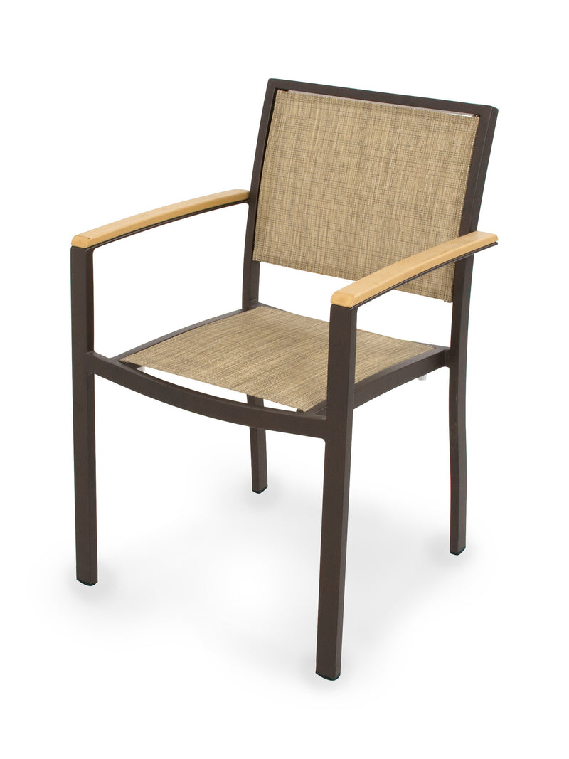 A290-16NT912 Bayline Dining Arm Chair in Textured Bronze and Plastique with a Burlap Sling