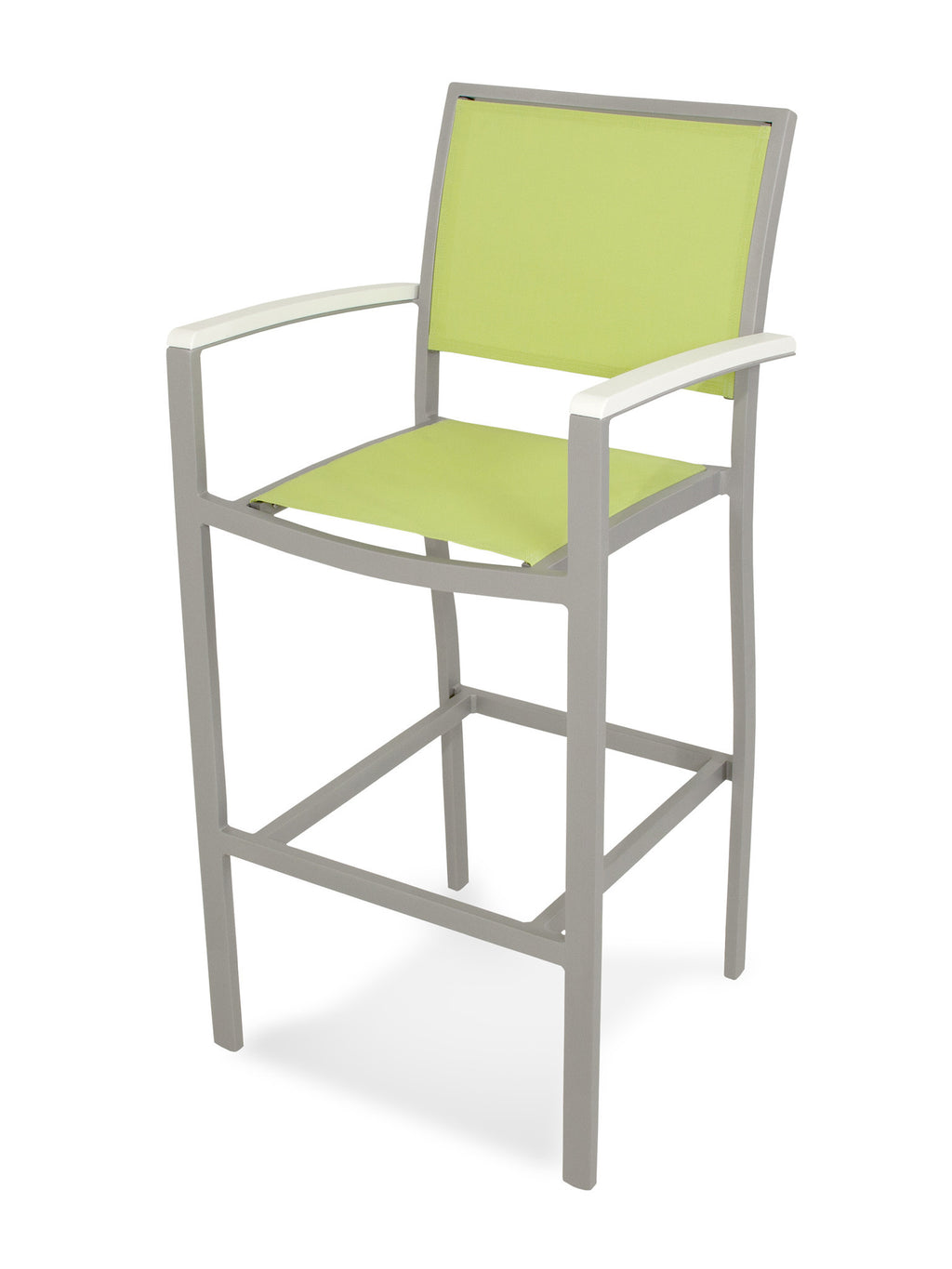 A292-11MWH904 Bayline Bar Arm Chair in Textured Silver and White with an Avocado Sling
