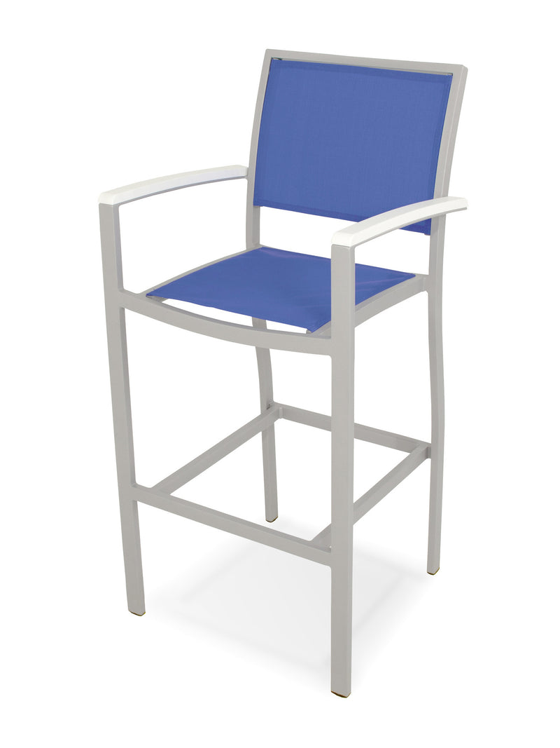 A292-11MWH905 Bayline Bar Arm Chair in Textured Silver and White with a Royal Blue Sling