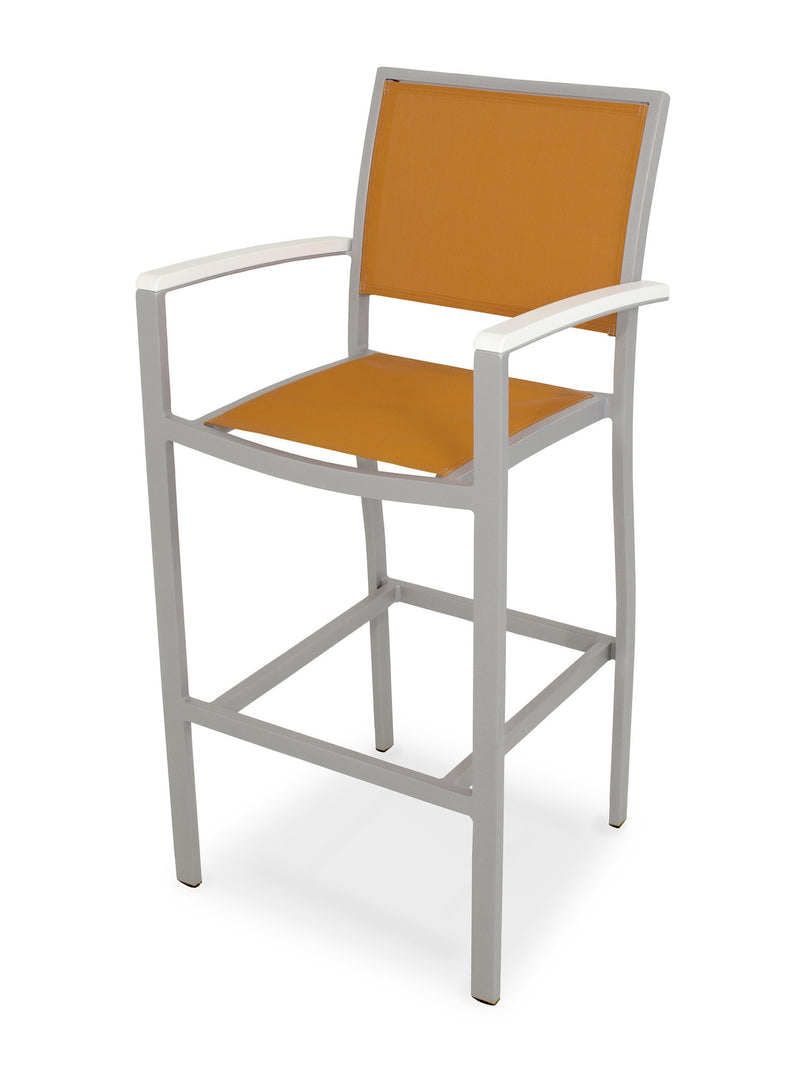 A292-11MWH906 Bayline Bar Arm Chair in Textured Silver and White with a Citrus Sling