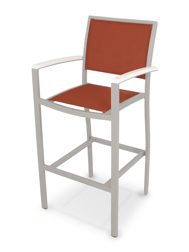 A292-11MWH907 Bayline Bar Arm Chair in Textured Silver and White with a Salsa Sling