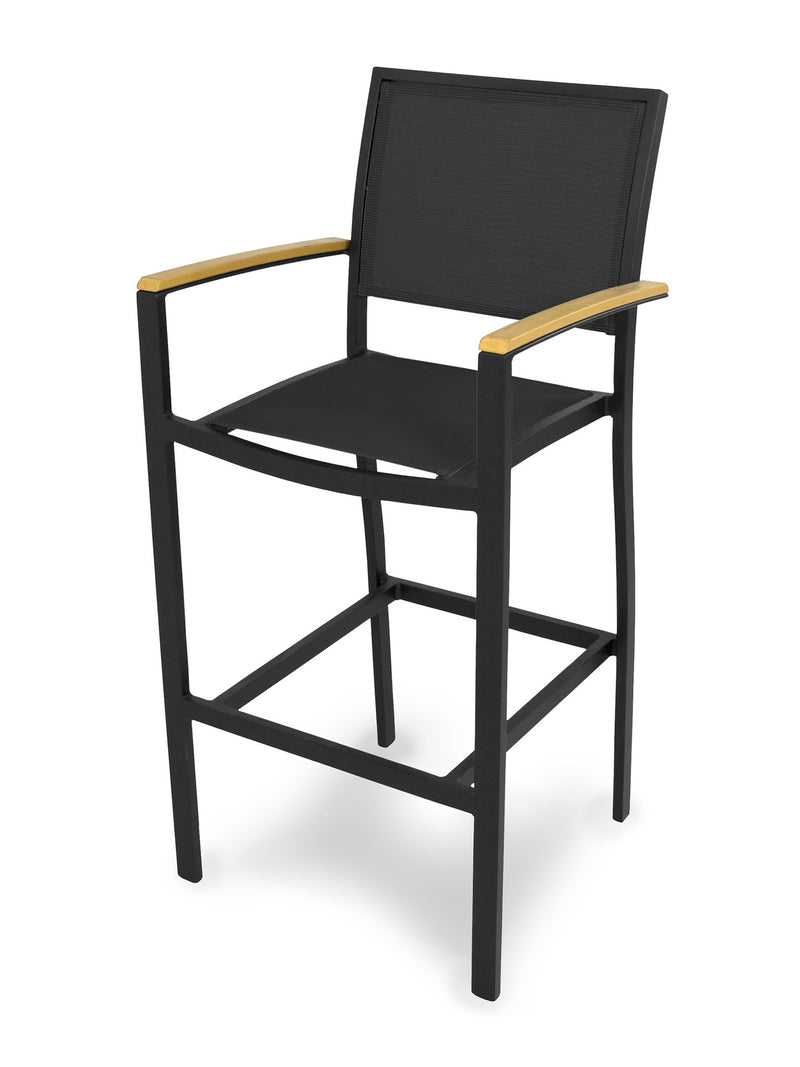 A292-12NT908 Bayline Bar Arm Chair in Textured Black and Plastique with a Black Sling