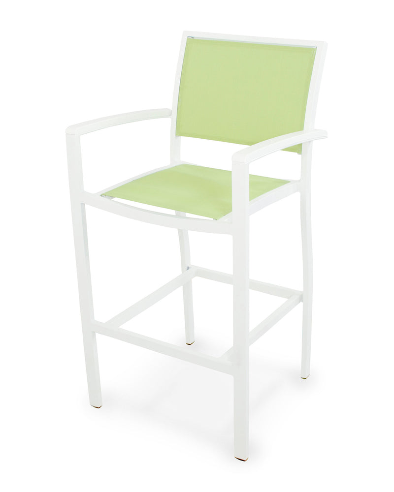 A292-13MWH904 Bayline Bar Arm Chair in Satin White and White with an Avocado Sling