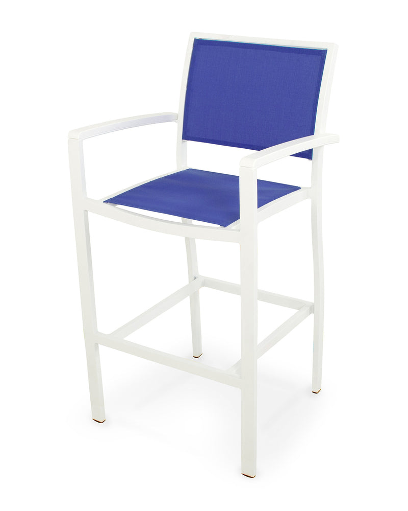 A292-13MWH905 Bayline Bar Arm Chair in Satin White and White with a Royal Blue Sling