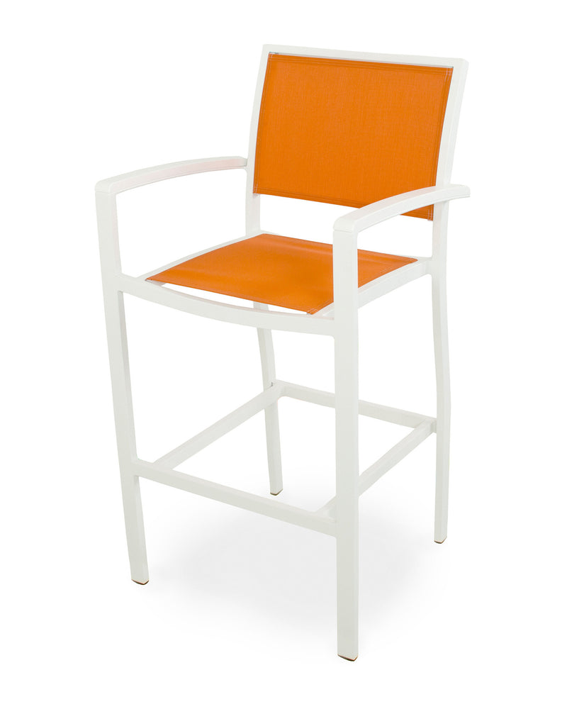 A292-13MWH906 Bayline Bar Arm Chair in Satin White and White with a Citrus Sling