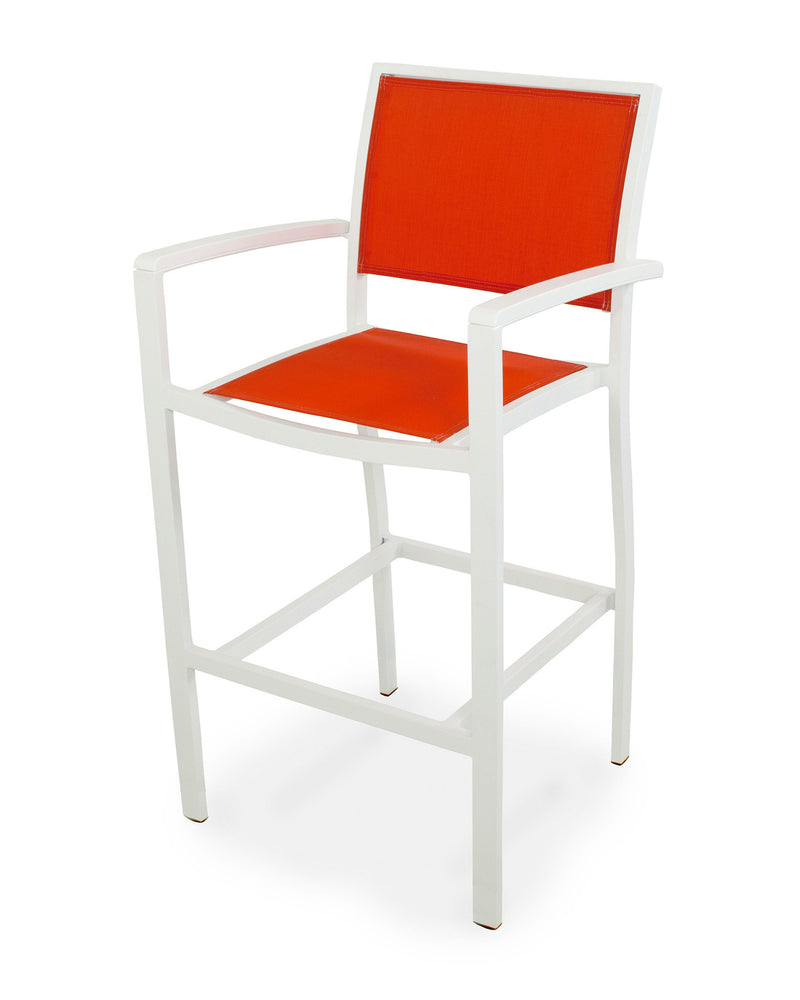 A292-13MWH907 Bayline Bar Arm Chair in Satin White and White with a Salsa Sling