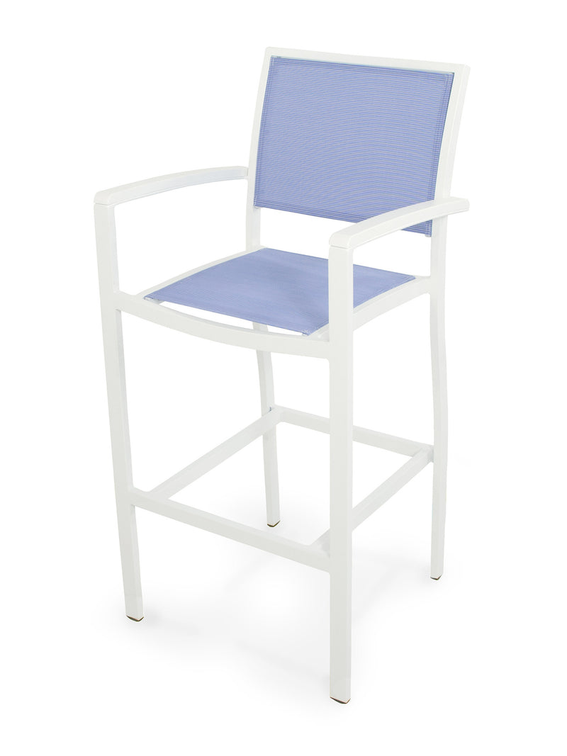 A292-13MWH910 Bayline Bar Arm Chair in Satin White and White with a Poolside Sling
