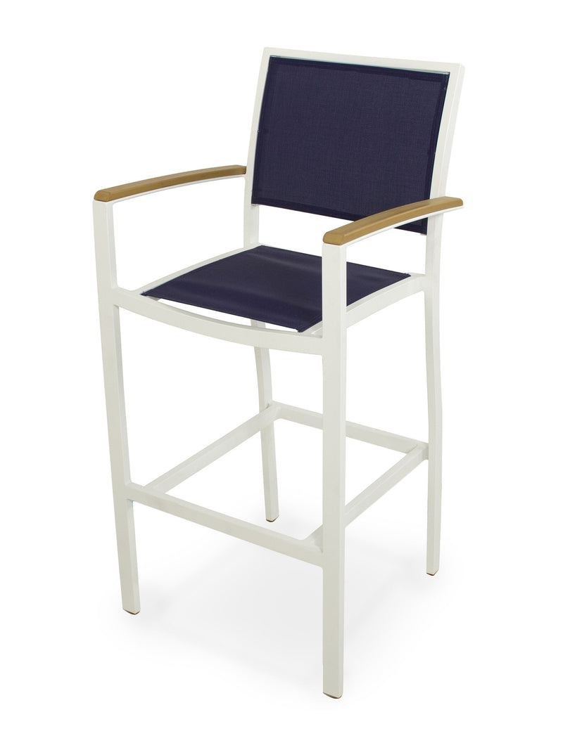 A292-13NT902 Bayline Bar Arm Chair in Satin White and Plastique with a Navy Blue Sling
