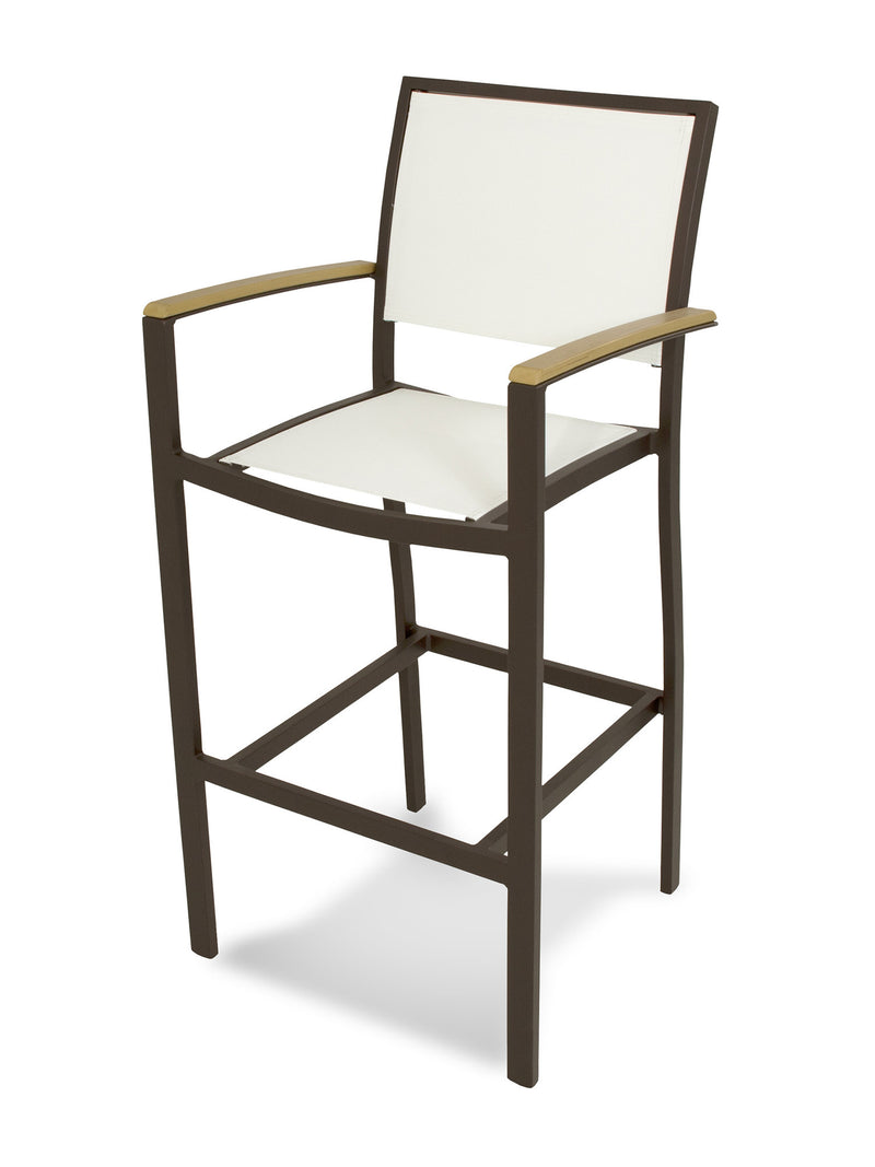 A292-16NT901 Bayline Bar Arm Chair in Textured Bronze and Plastique with a White Sling