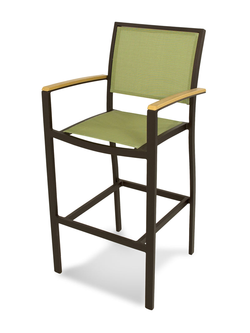 A292-16NT911 Bayline Bar Arm Chair in Textured Bronze and Plastique with a Kiwi Sling