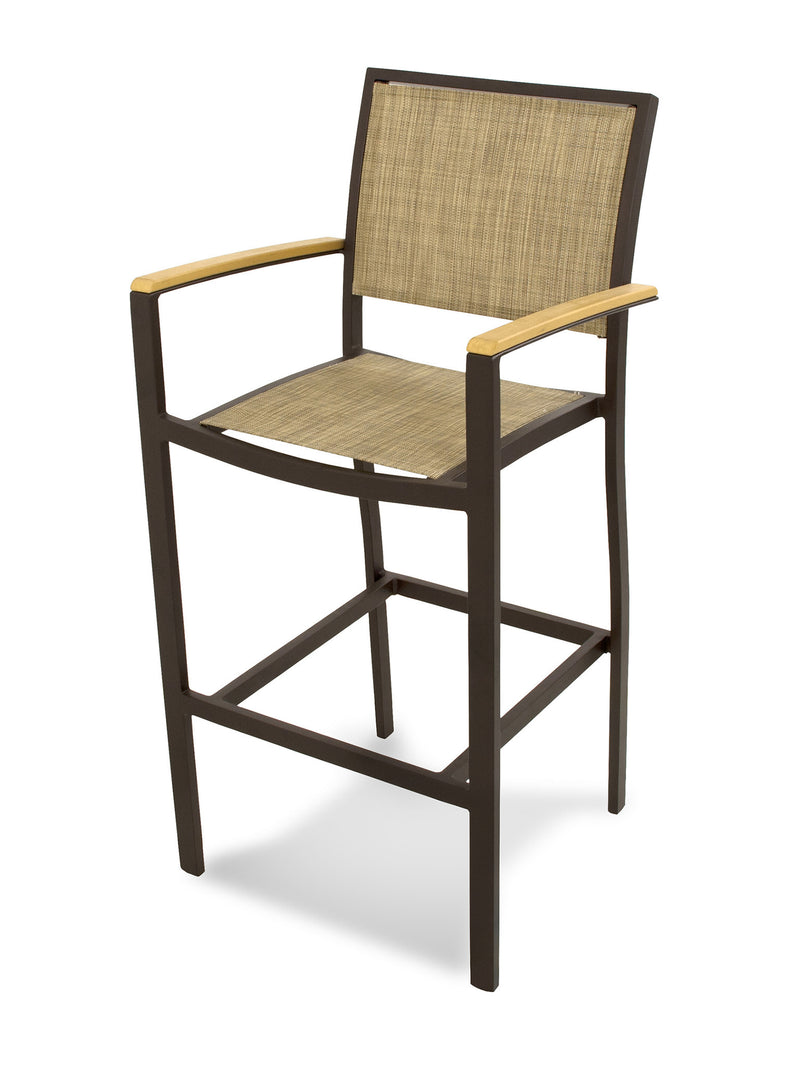 A292-16NT912 Bayline Bar Arm Chair in Textured Bronze and Plastique with a Burlap Sling