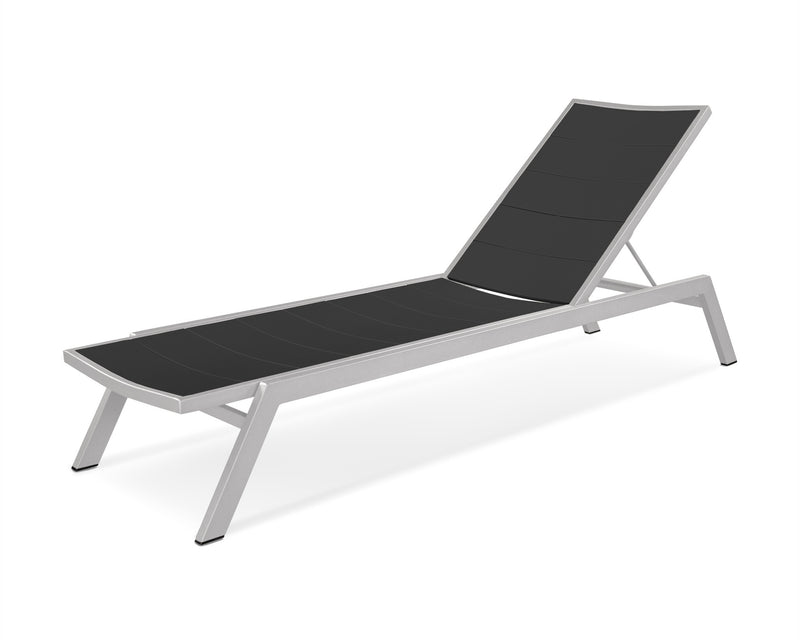 AC120-11MBL Metro Chaise in Textured Silver and Black