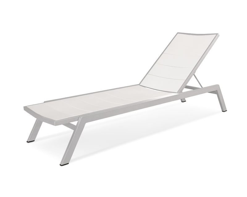 AC120-11MWH Metro Chaise in Textured Silver and White