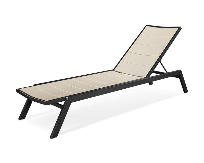 AC120-12MSA Metro Chaise in Textured Black and Sand