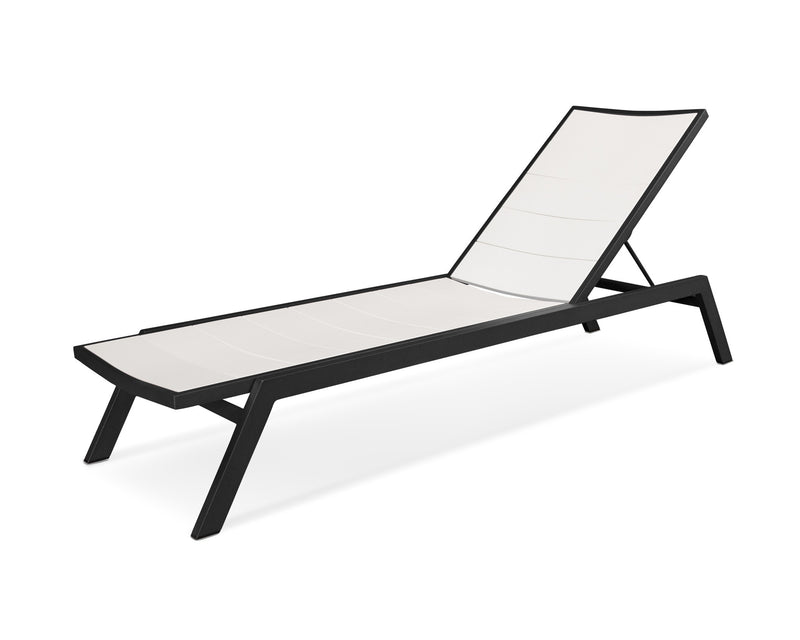 AC120-12MWH Metro Chaise in Textured Black and White