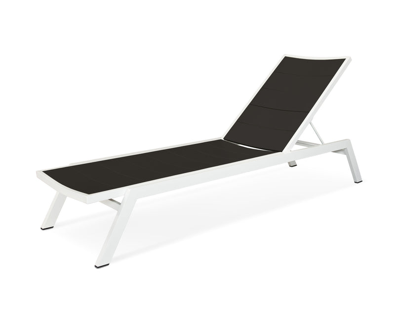 AC120-13MBL Metro Chaise in Satin White and Black