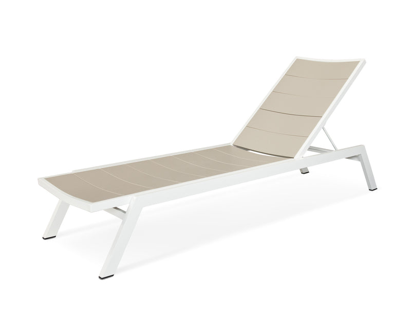 AC120-13MSA Metro Chaise in Satin White and Sand