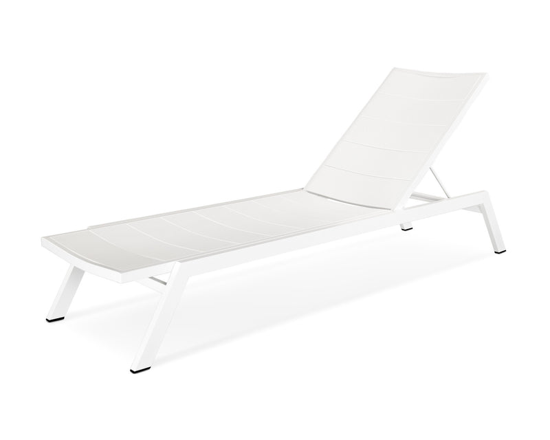 AC120-13MWH Metro Chaise in Satin White and White