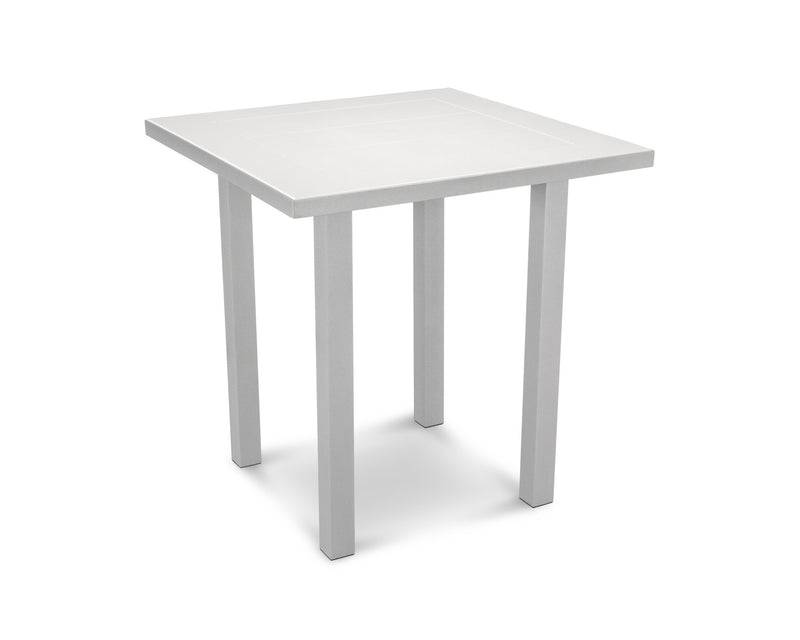 "AT121-11MWH Euro SOLID 36"" Counter Table in Textured Silver and White"