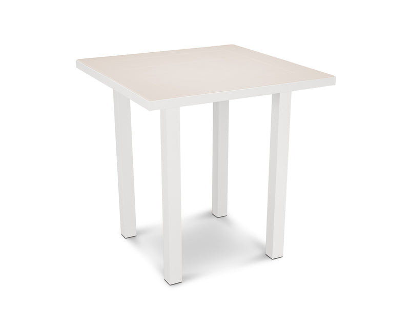 "AT121-13MSA Euro SOLID 36"" Counter Table in Satin White and Sand"