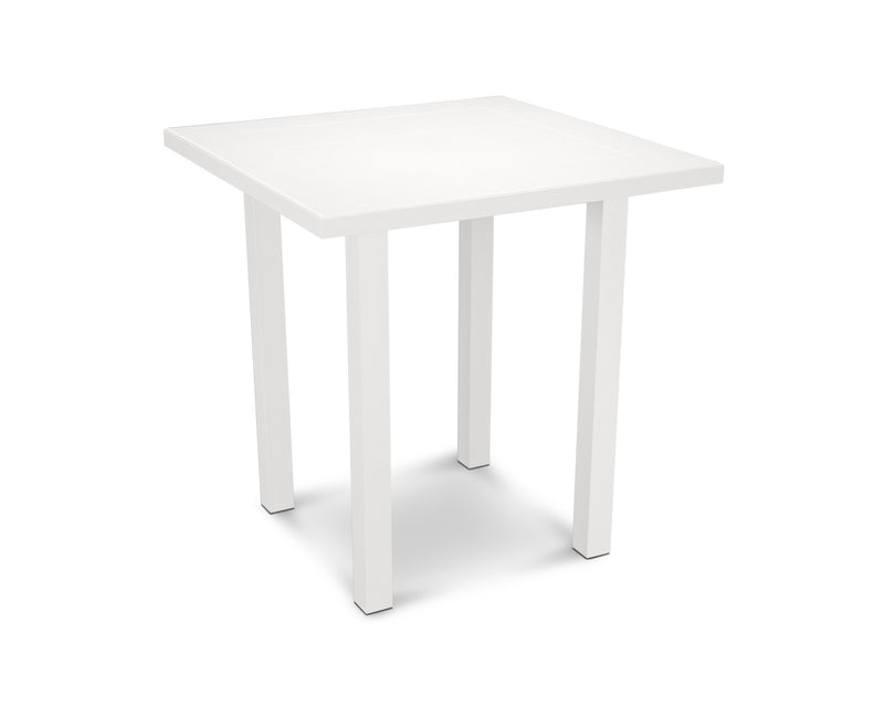 "AT121-13MWH Euro SOLID 36"" Counter Table in Satin White and White"