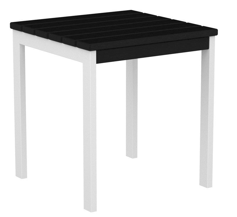 "AT18-13BL Euro 18"" Side Table in Satin White and Black"