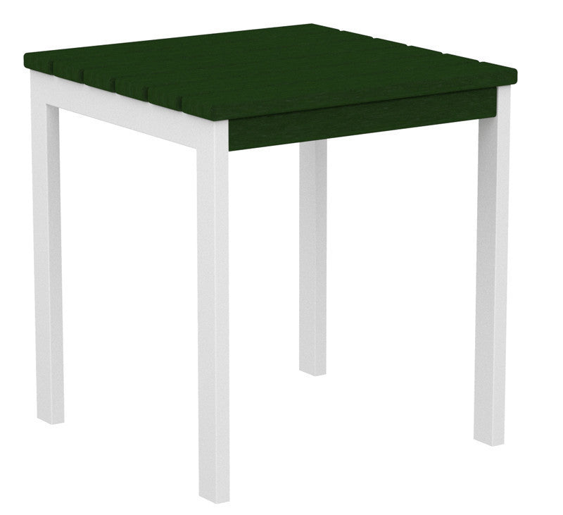 "AT18-13GR Euro 18"" Side Table in Satin White and Green"