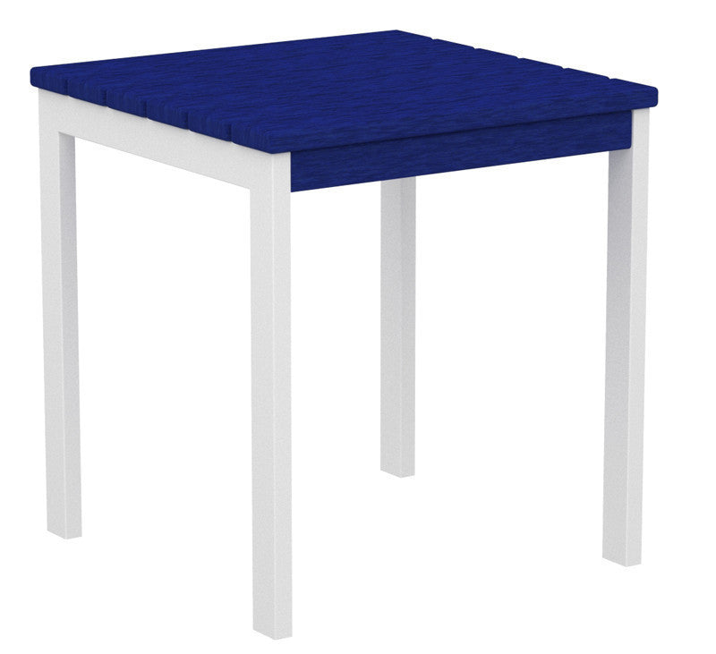 "AT18-13PB Euro 18"" Side Table in Satin White and Pacific Blue"