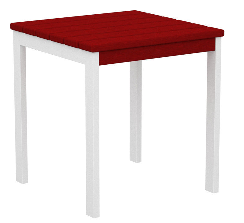"AT18-13SR Euro 18"" Side Table in Satin White and Sunset Red"