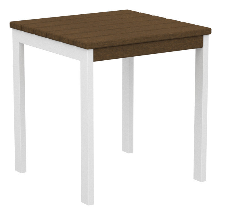"AT18-13TE Euro 18"" Side Table in Satin White and Teak"