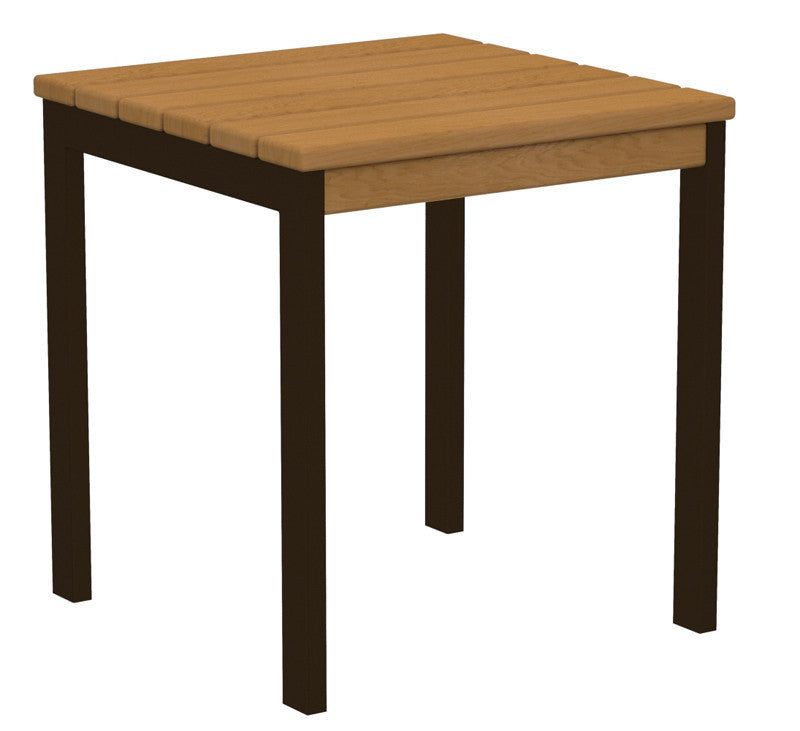 "AT18-16NT Euro 18"" Side Table in Textured Bronze and Plastique Natural Teak"