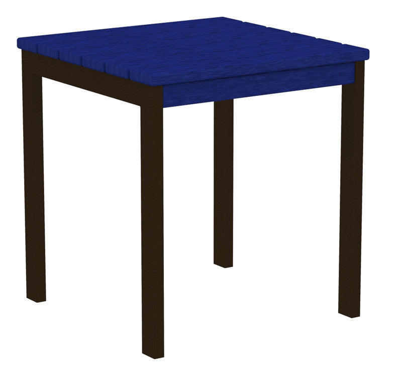 "AT18-16PB Euro 18"" Side Table in Textured Bronze and Pacific Blue"