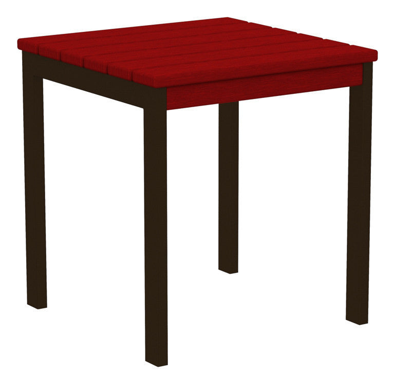 "AT18-16SR Euro 18"" Side Table in Textured Bronze and Sunset Red"