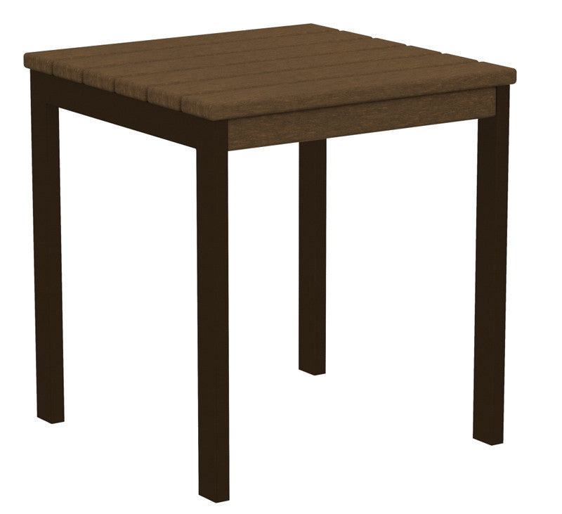 "AT18-16TE Euro 18"" Side Table in Textured Bronze and Teak"