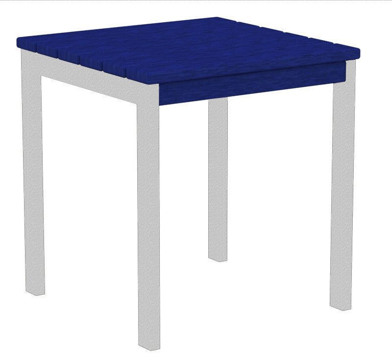 "AT18FASPB Euro 18"" Side Table in Textured Silver and Pacific Blue"