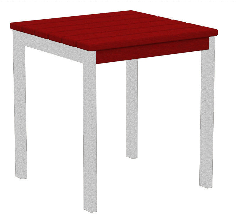 "AT18FASSR Euro 18"" Side Table in Textured Silver and Sunset Red"