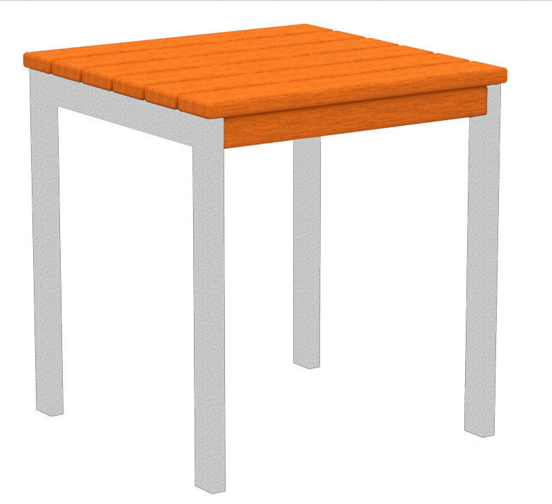 "AT18FASTA Euro 18"" Side Table in Textured Silver and Tangerine"
