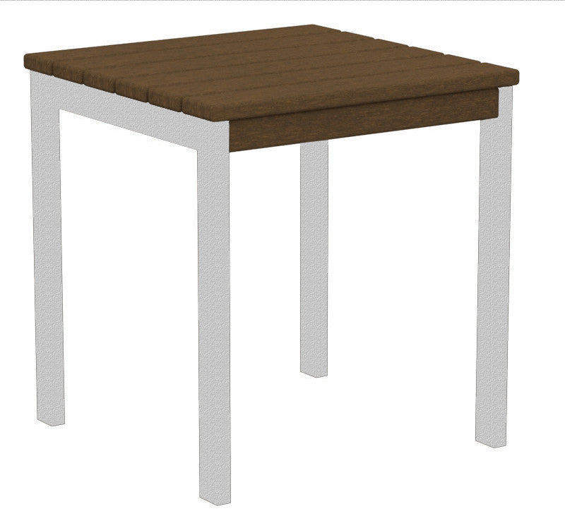 "AT18FASTE Euro 18"" Side Table in Textured Silver and Teak"