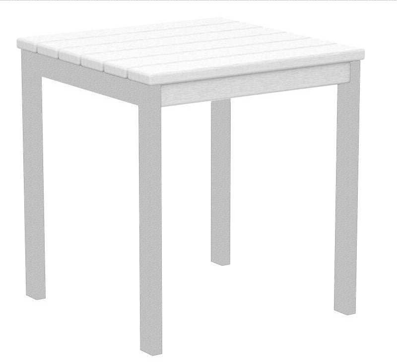 "AT18FASWH Euro 18"" Side Table in Textured Silver and White"