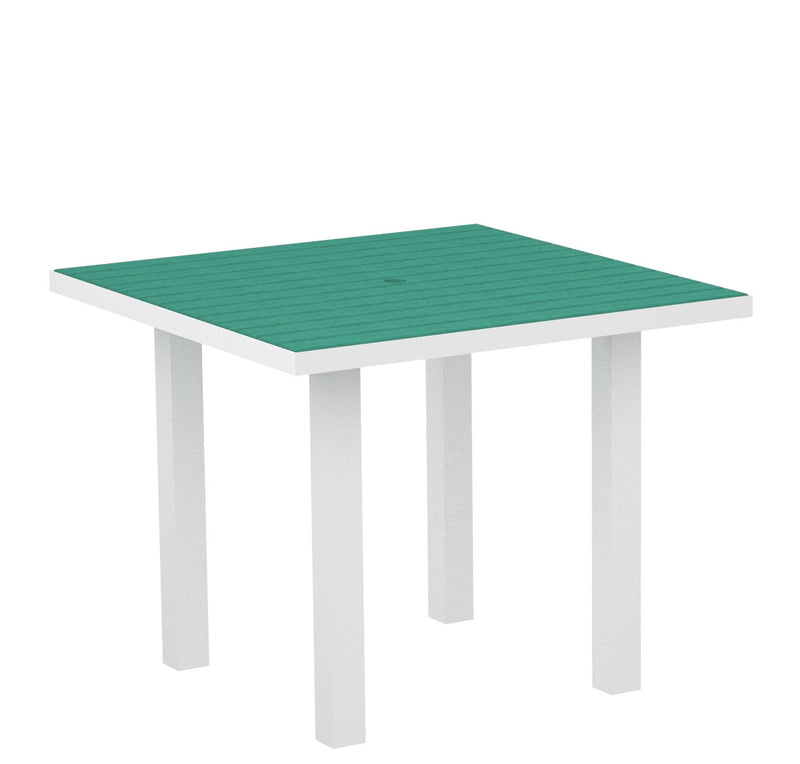 "AT36-13AR Euro 36"" Square Dining Table in Satin White and Aruba"