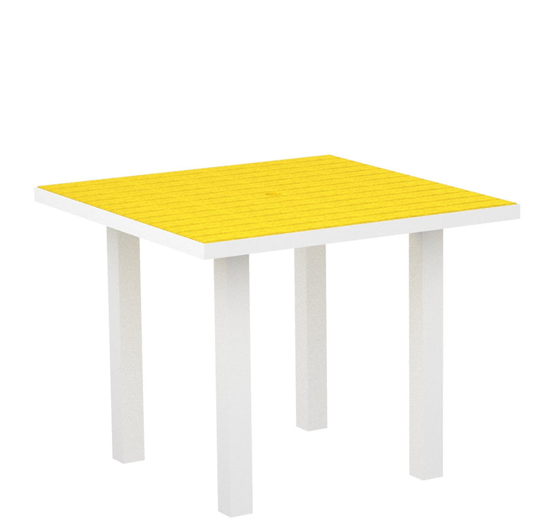 "AT36-13LE Euro 36"" Square Dining Table in Satin White and Lemon"
