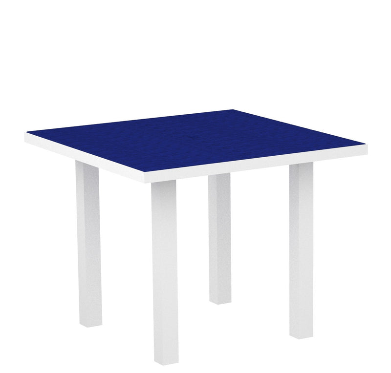 "AT36-13PB Euro 36"" Square Dining Table in Satin White and Pacific Blue"