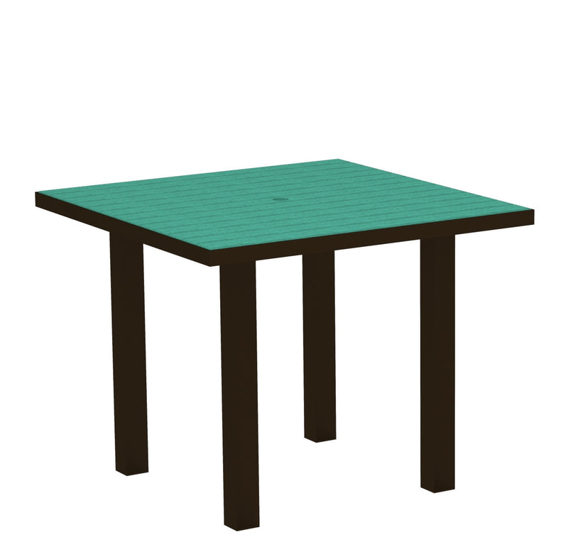 "AT36-16AR Euro 36"" Square Dining Table in Textured Bronze and Aruba"