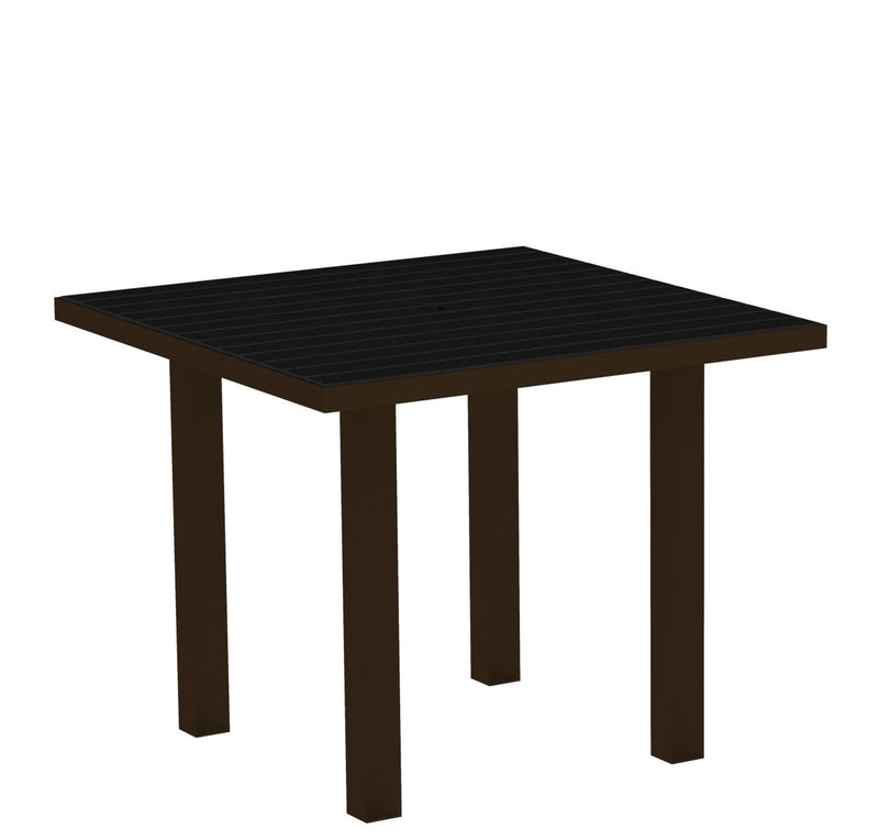 "AT36-16BL Euro 36"" Square Dining Table in Textured Bronze and Black"